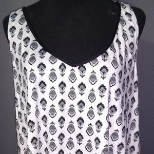 White Black Sleep Tank Plus Sz 3X 22/24